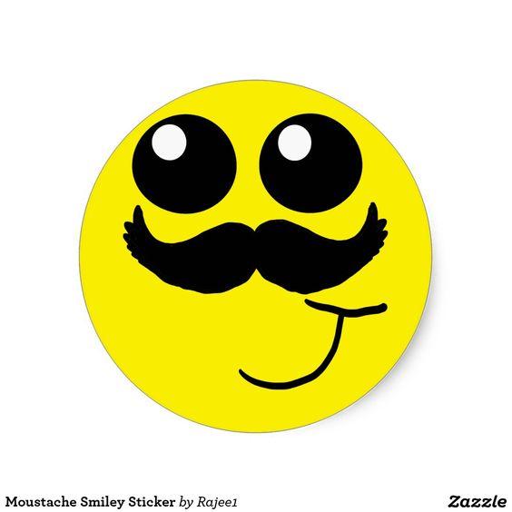 Moustache Smiley Sticker