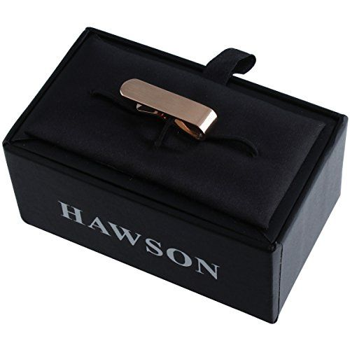 HAWSON 2 Inch Rose Gold Tie Bar Clips for Mens Necktie Series Wedding Business with Nice Box