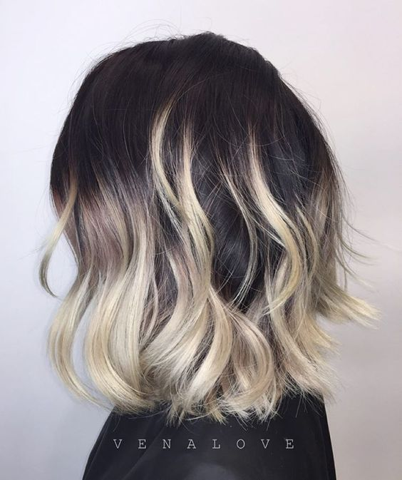 Hello Friday night owls! Here's a fun two toned painting + her natural black hair + textured long bob. #hairbyvena: