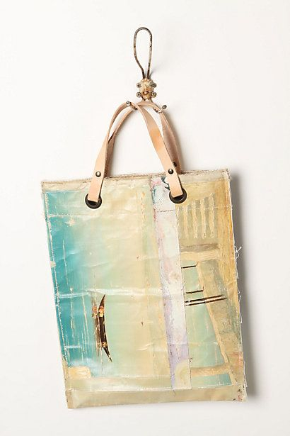 """Really gorgeous bag, and a great way to """"recycle"""" old paintings.: Beach Bags, Totes Bags, Oil Canvas, Recycled Paintings, Bags Bags, Bags Painting, Canvas Tote"""