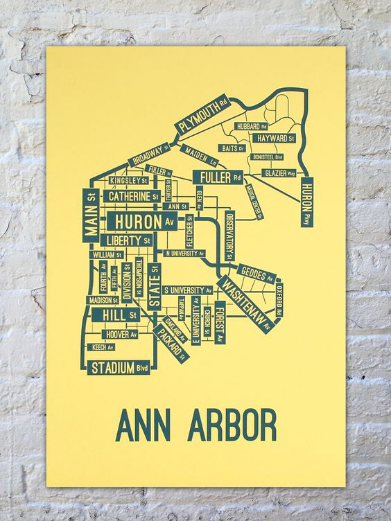 Ann Arbor, Michigan Street Map Poster | School Street Posters