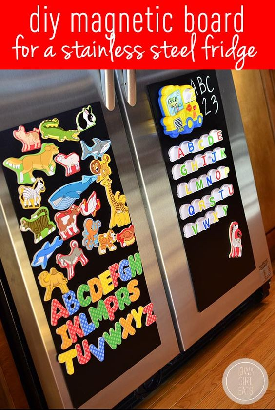 Make a DIY Magnetic Board for a Stainless Steel Fridge in minutes with this easy tutorial! #DIY #craft   iowagirleats.com