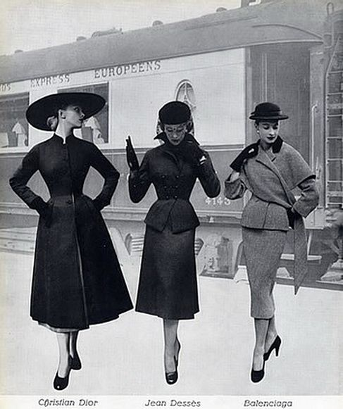 Balenciaga, Christian Dior, Jean Desses,    suit-coat-express-europeens-train-1951