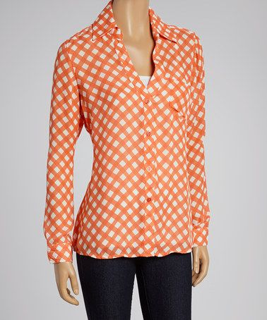 This Coral & White Large Dot Button-Up by Larsen Grey is perfect! #zulilyfinds
