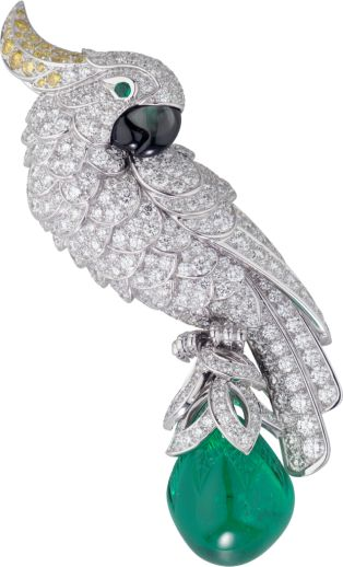 Cartier Fauna and Flora brooch Platinum, emerald, mother-of-pearl, diamonds