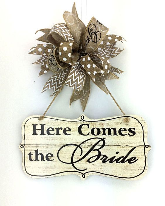 burlap bow sign