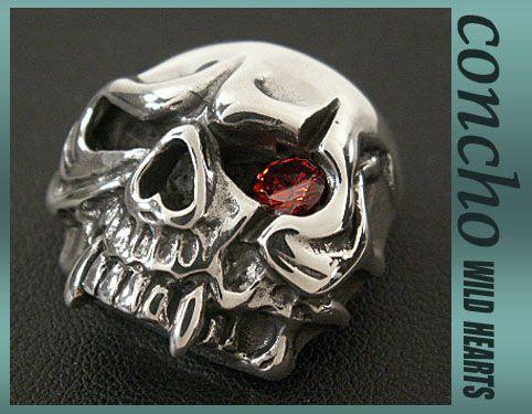 concho/Skull/Solid Silver Skull with Zirconium/WILD HEARTS leather&silver   http://item.rakuten.co.jp/auc-wildhearts/con1012/