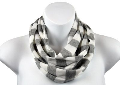 Gray and White striped Infinity Scarf. Made from 100% Cotton Knit. Very light weight this scarf will perk up your favorite t-shirt and jeans.