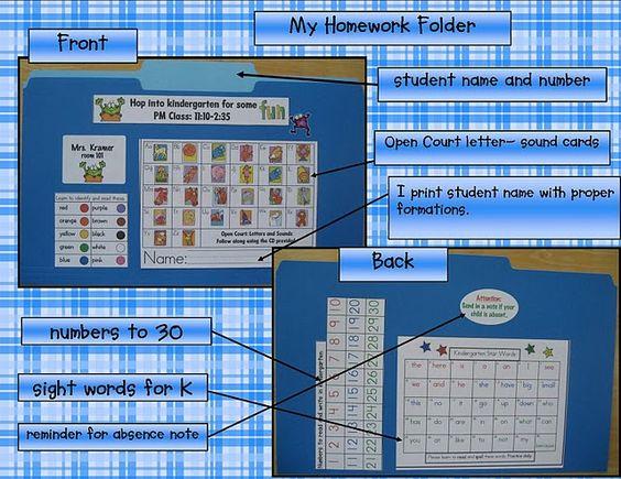 homework folders: Kindergarten Homework Folder, Homeschool Ideas, Kindergarten Folders, Homework Ideas, Children'S Ideas, Kindergarten Ideas, Hw Folder, Classroom Ideas, Student Folder