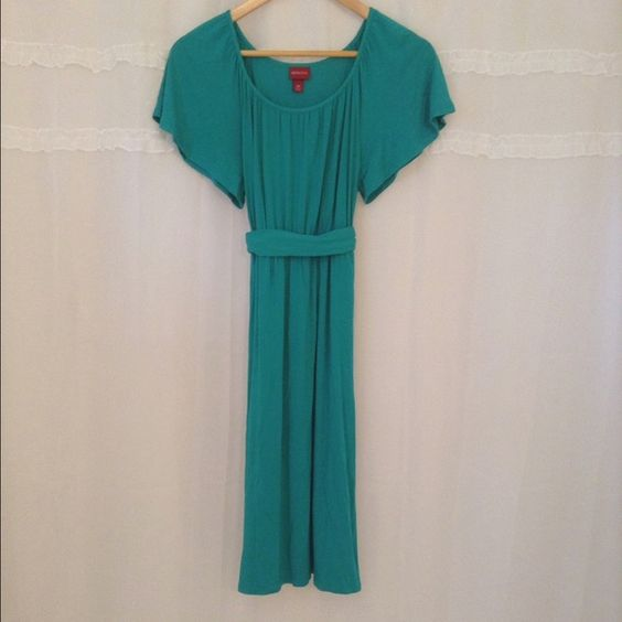 SaleMerona Dress!! Green Rayon and Spandex Dress!! Is knee length. Comes with a green belt! This dress is perfect for spring!!!  Merona Dresses