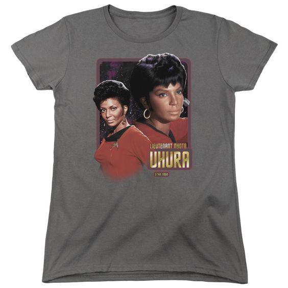 Star Trek Lieutenant Uhura Charcoal Womens T-Shirt