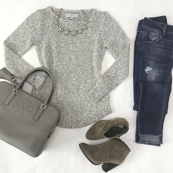 fall outfit idea weekend style sweater ankle booties, petite fashion blog, stylish petite, petite friendly ponchos, riding boots, weekend style - click the photo for outfit details!
