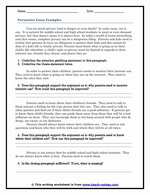 Thesi Statement Practice Worksheet Lovely Persuasive Essay Example Guided Response Writing Skills How To Write