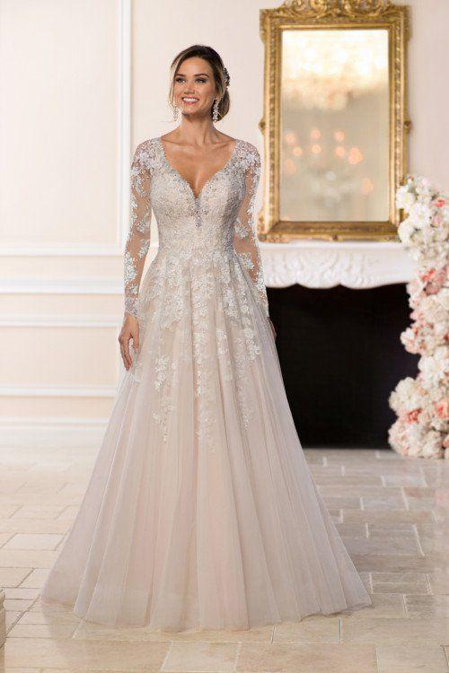 Long Sleeve Wedding Dress Idea A Line Wedding Dress With Long Lace Sleeves And V Necklin Ball Gown Wedding Dress York Wedding Dress Wedding Dresses Romantic