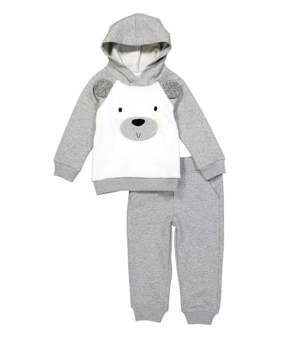 Kids Headquarters Gray Bear-Face Hoodie & Sweatpants - Infant & Kids by Kids Headquarters #zulily #zulilyfinds