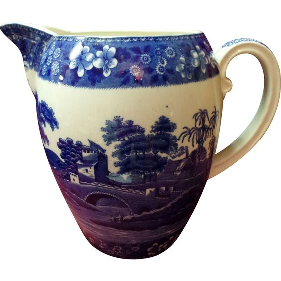 Beautiful White and Blue Spode Pitcher