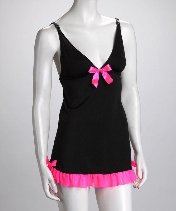 Fun & Flirty Black & Pink Ruffle Babydoll