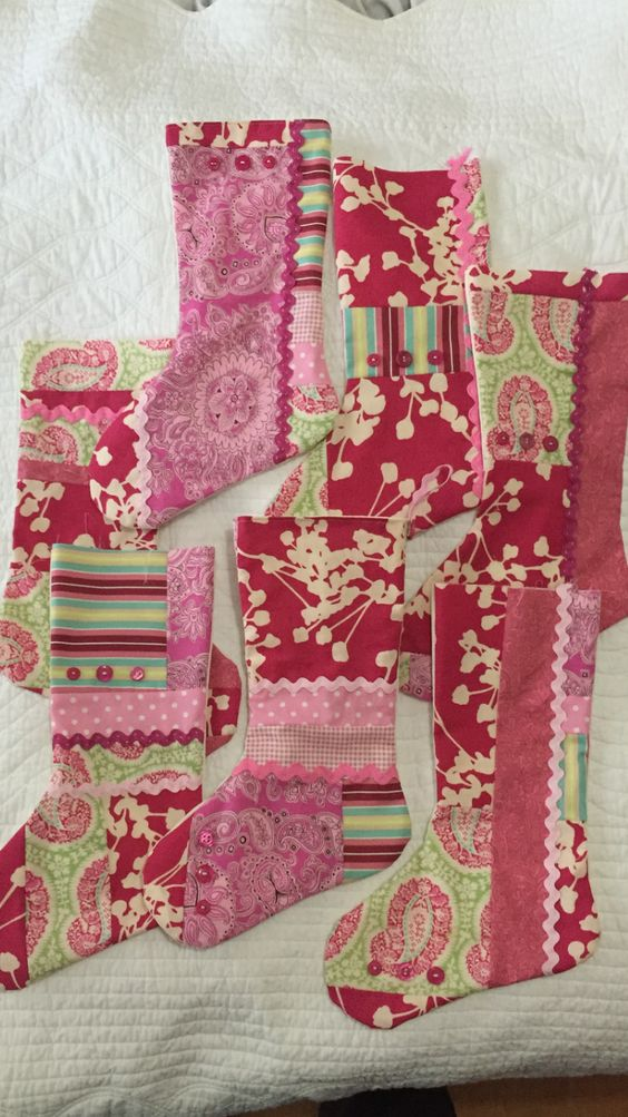 Pink Christmas patchwork stockings