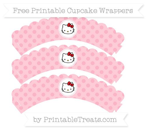 Free Pastel Light Pink Polka Dot  Hello Kitty Scalloped Cupcake Wrappers