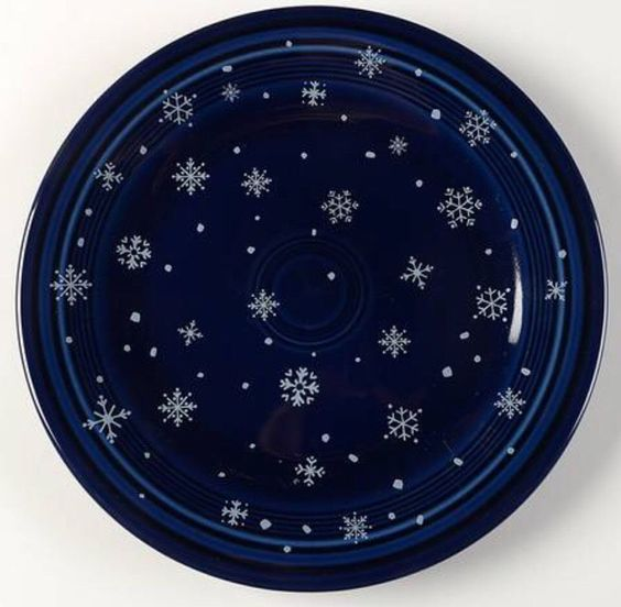 "Fiesta® Cobalt Blue Snowflake 10.5"" Dinner Plate made by Homer Laughlin China Company. Betty Crocker exclusive pattern from 2004-2006 