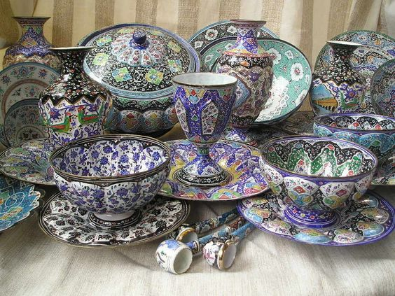 Persian Copper Miniature Enamel Goblet Vase