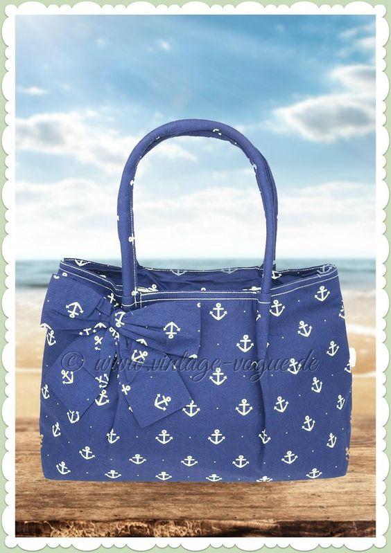 Küstenluder 50er Jahre Vintage Anker Handtasche - Aleen - navy blau