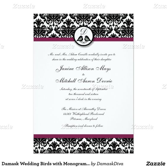 Pássaros do casamento tema damasco com monograma convite 12.7 x 17.78cm