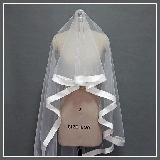 Brand New Wedding Veil,Ribbon Edge Veil,Wide Satin Ribbon,Wedding veil,Veils by lilybridal on Etsy