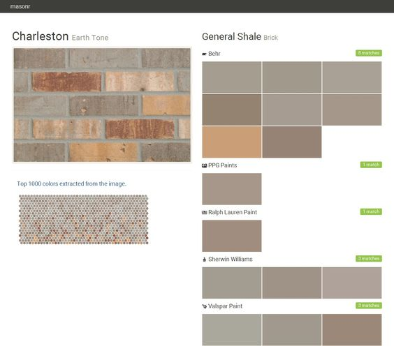 Charleston. Earth Tone. Brick. General Shale. Behr. PPG Paints. Ralph Lauren Paint. Sherwin Williams. Valspar Paint.  Click the gray Visit button to see the matching paint names.