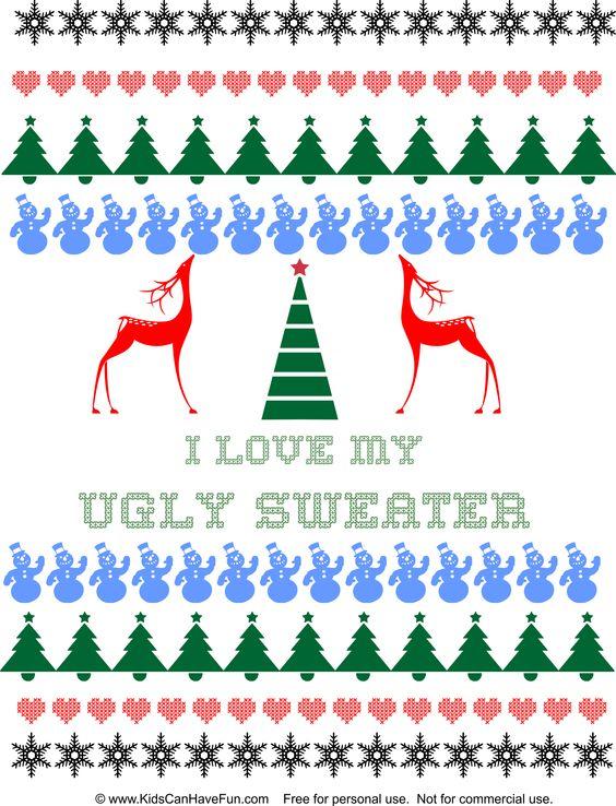 DIY I Love My Ugly Christmas Sweater design http://www.kidscanhavefun.com/christmas-crafts.htm #uglysweater #diychristmas #homemade