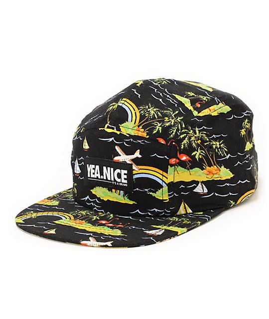 Just you try not to smile in the new Yea.Nice Jungles black 5 panel hat. Show off your uniqueness in the black colorway with an all-over planes, flamingos, palm trees, rainbows, and sail boat print pattern, Yea.Nice patch at the front, and an adjustable b