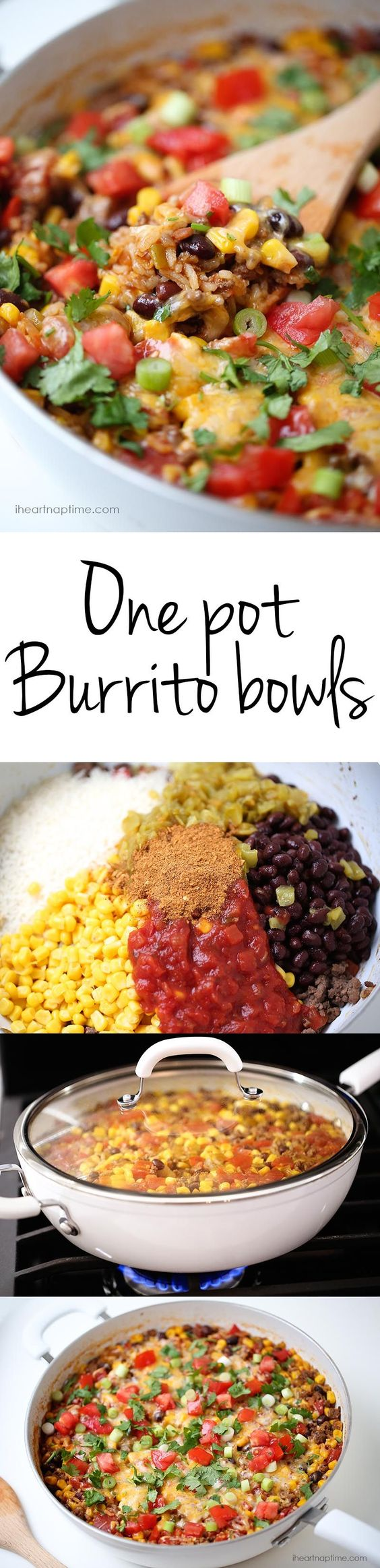 One pot burrito bowls recipe- easy and delicious one pot meal! This dinner recipe is made in one pot in 30 minutes ...making clean up a breeze. Perfect for busy week nights! #onepot #onepotmeals #onepotrecipes #onepotsuppers One Pot Burrito Bowls Lunch or Dinner Recipe |  i heart naptime