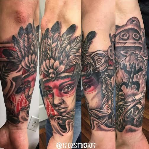 Awesome Taino warrior forearm half sleeve tattoo by Alex ...