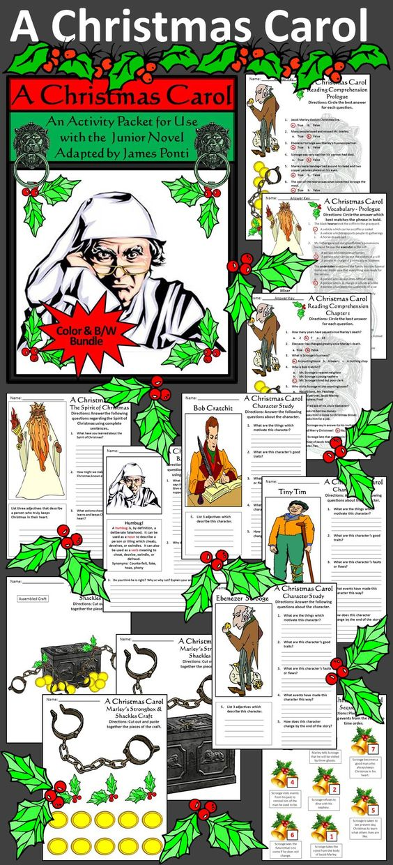Christmas Carol Activity Packet Activities Tim O 39 Brien