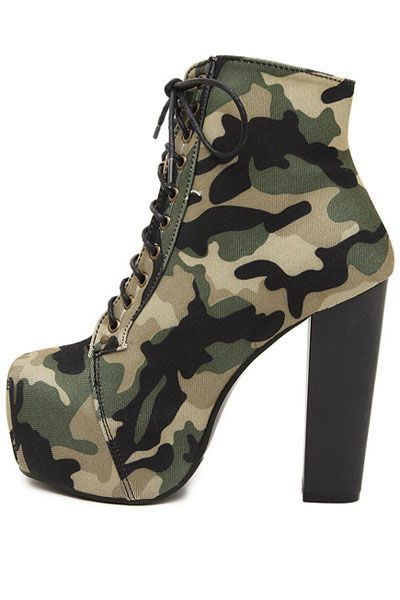 Army+Green+Canvas+Camouflage+Lace+Up+Chunky+Heel+Booties+#Army+#Booties+#maykool