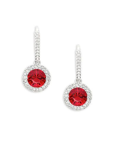 Nadri Round Pave Drop Earrings Women's Red