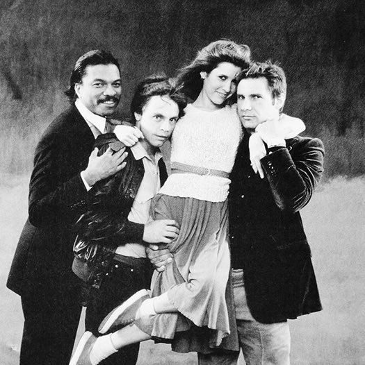 """Billy Dee Williams, Mark Hamill, Carrie Fisher, and Harrison Ford promoting The Empire Strikes Back"""