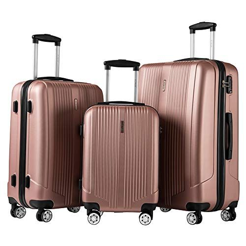 Luggage Sets Hard Suitcase set Spinner luggage set 3 Piece Set with TSA Lock silvery