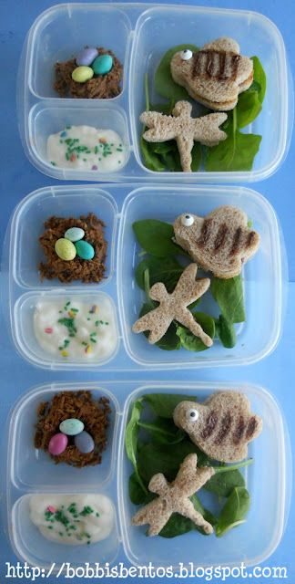 Bumblebee, dragonfly, and bird's nest lunch in Easy Lunchboxes