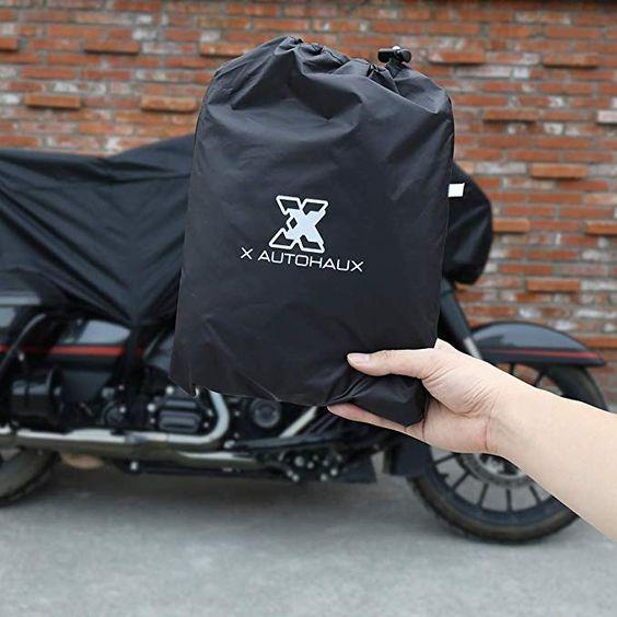 X AUTOHAUX Motorcycle Half Cover Black Waterproof Rain Dust UV Protector L