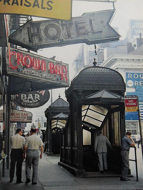 retronewyork:    New York City 1960s Crown Bar & Subway Entrances Vintage by Christian Montone on Flickr.