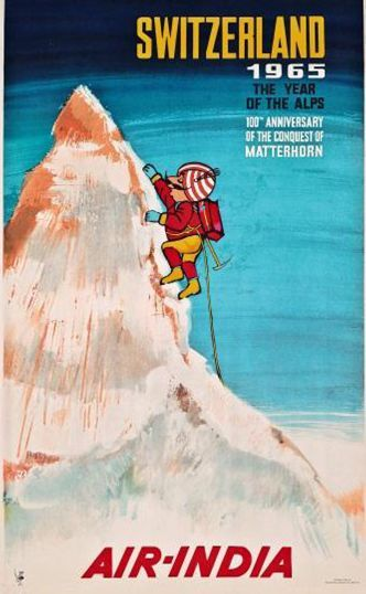 Switzerland , Air India poster from 1965: