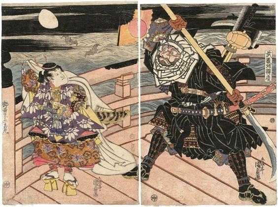 Utagawa Kunisada I / Musashibo Benkei und Onzoshi Ushiwakamaru auf der Gojobrücke