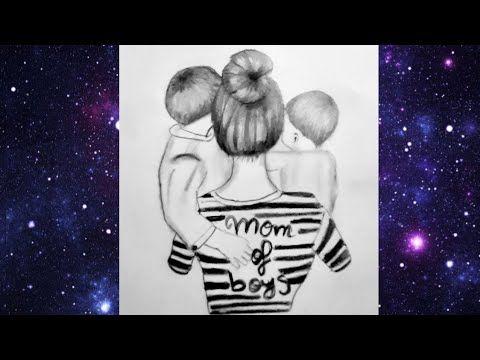 عليم الرسم بالرصاص رسم أم مع طفلين How To Draw A Mother And Two Childern Youtube Pencil Sketch Female Sketch Art