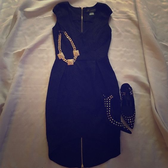Kardashian Kollection dress Size small; black high/low dress with full gold zipper in back. Fabric described as black Python. Very sexy! Kardashian Kollection Dresses High Low
