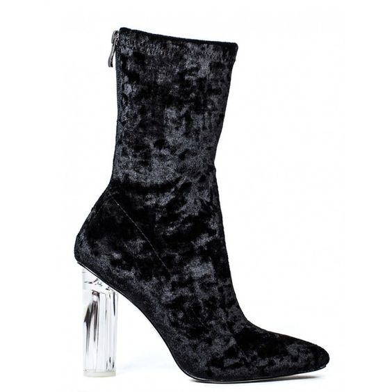 DIP IT LOW BLACK VELVET BOOTS WITH PERSPEX HEEL ($50) ❤ liked on Polyvore…