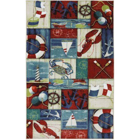 N Is For Nautical Multi Rug, Multicolor