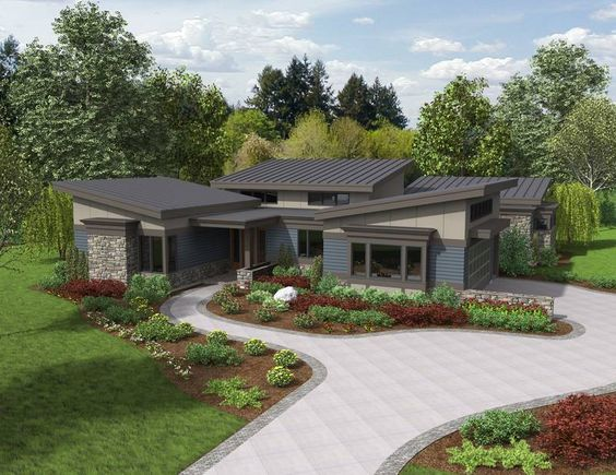 The caprica contemporary ranch house plan provides ample for U shaped ranch style home plans