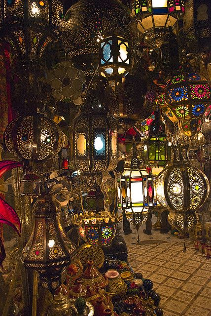 Lamps, Marrakech market in Morocco