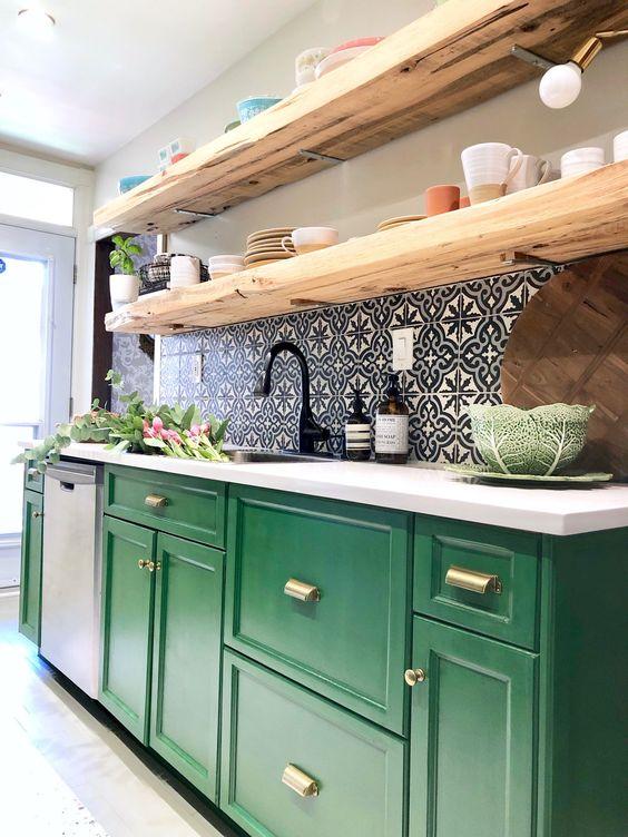 My Kitchen Makeover with the BEHR® Chalk Decorative Paint. #GreenKitchenCabinets Green kitchen cabinets.
